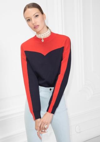 Colour Blocking Cotton Sweater, 59€